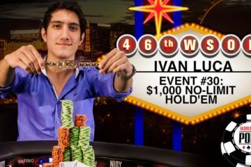 2015 WSOP 30-й Ивент ($1 000 No-Limit Hold'em). Первое место занимает Франко Иван Люка