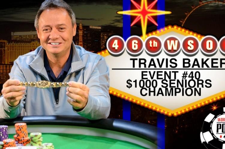 2015 WSOP 40-й Ивент ($1 000 Seniors No-Limit Hold'em Championship). Победу одерживает Трэвис Бэйкер