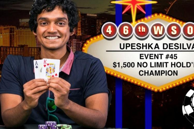 2015 WSOP 45-й Ивент ($1 500 No-Limit Hold'em). Выигрывает Апешка Де Сильва